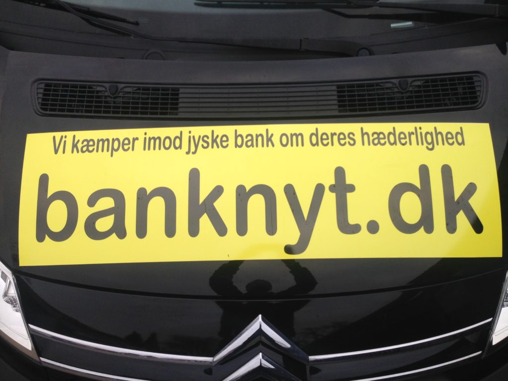 #Press The customer asksing the press, to ask the #Danish #Bank, why they are doing fraud :-) :-) Never seen before That a customer pack cars into giant stickers brands, Call up the bank, just to stop the bank's fraud against customer. To get in touch with the CEO Anders Dam Anders Dam which allows the Chrime, together with management that the bank continue fraud :-) :-) For more than 2 years, at least since May 2016 Have the bank director Anders Christian Dam, the manager Jyske Bank And the board of the same Danish Bank known everything about the scam :-( Fraud against customer. The customer tries to stop the bank CEO Anders Christian Dam But fraud is a good bank business for the Danish bank, as refusing to stop fraud in the 10th year :-) :-) Thinking all employees of the Jyske bank are laughing at the customers Customers who the bank deliberately deceives The Danish Bank of Jutland JYSKE BANK Supported by the bank's employees, Employees who agree with the manager, and group management in the fight against t