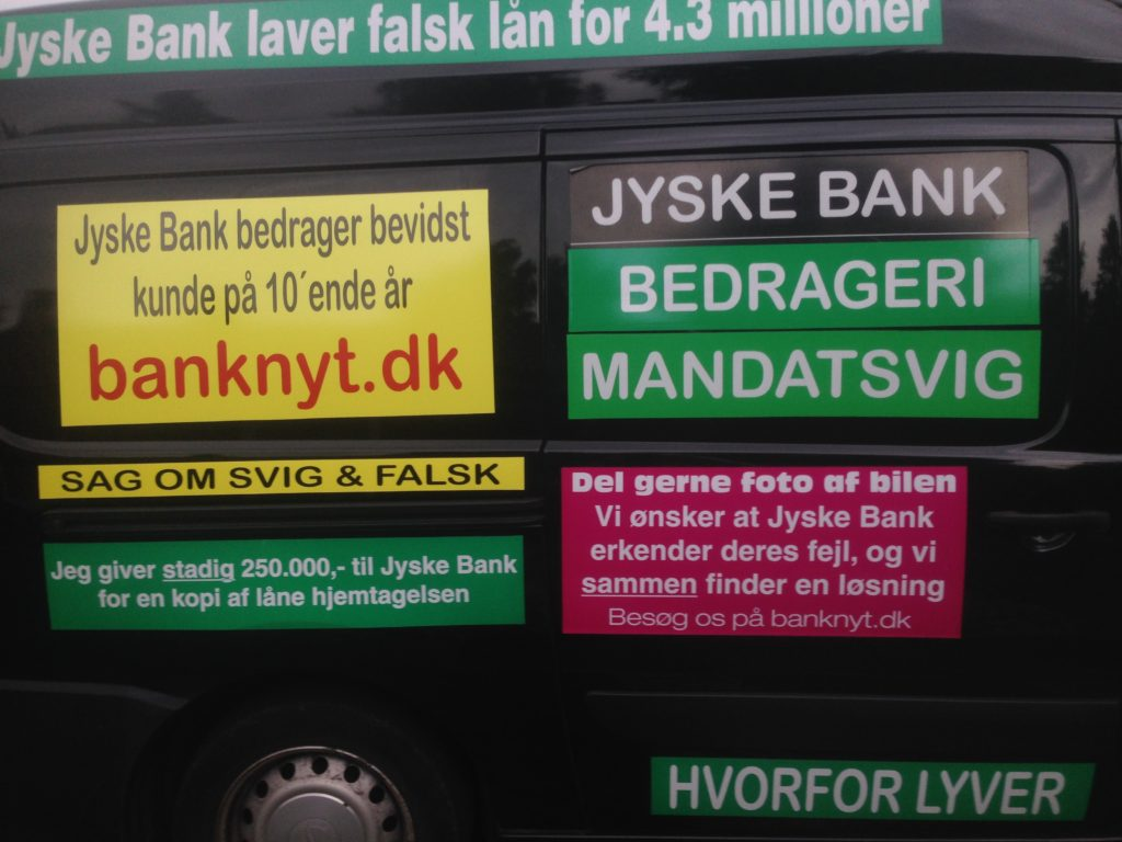 Which the management of Jyske Bank several times since May 2016 has been asked to stop Jyske Bank. Unfortunately, the entire board of Jyske Bank's group does not care that Jyske Bank exposes customers to deliberate fraud and refuses to speak to the customer. Jyske Bank's group still continues here in 2020 Jyske Bank's fraud transactions against customer. Koncernbestyrelsen Sven Buhrkall Kurt Bligaard Pedersen Rina Asmussen Philip Baruch Jens A. Borup Anker Laden-Andersen Keld Norup Per Schnack Christina Lykke Munk Johnny Christensen Marianne Lillevang Koncerndirektionen Anders Dam Niels Erik Jakobsen Per Skovhus Peter Schleidt