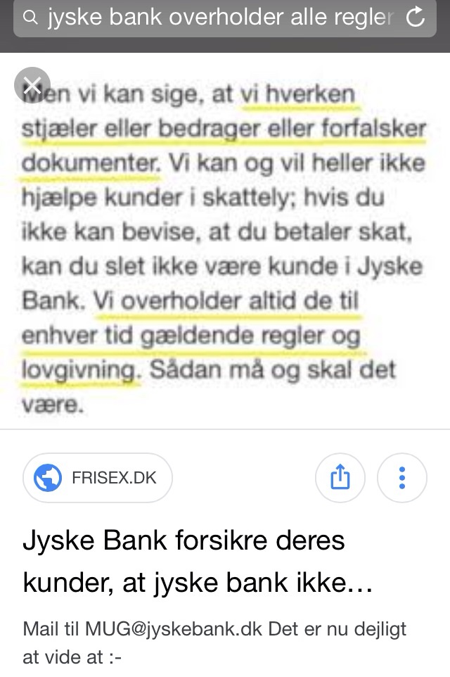 Lundgrens, Lund Elmer Sandager, Jyske Bank.  Share our call for help, but just for your information some have been blocked BANKNYT.dk on facebook, perhaps to cover the Danish criminal banks, and to hide the truth that Danish police will not investigate Danish banks that are reported for Fraud and Document Fake.
