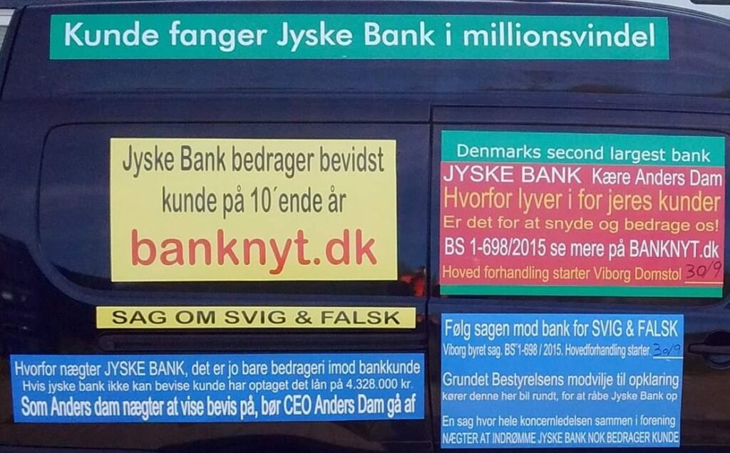 Banks must only think of their financial opportunities to benefit their shareholder, such as ATP / A.P. Møller / pension Denmark Follow the banks trial, a fraud case in Viborg court BS 1-698/2015 First day of trial is 30th of September BS 1-698/2019 :-) When Danish banks will not stop fraud against their customers And the police will not investigate Danish banks that are reported to deceive their customers. :-) Then the bank's customers have to fight harder to stop danish bank fraud.