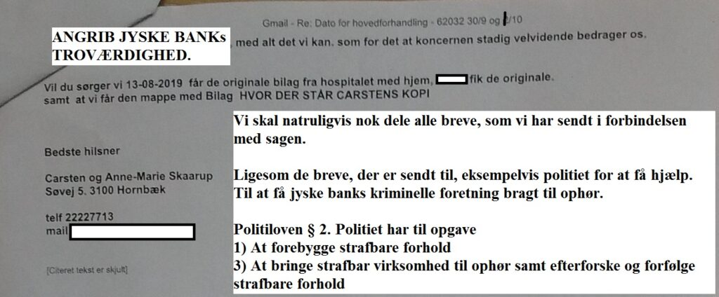 When Danish banks deceive their customers. The customer is usually the small one But make no mistake about the size. Customer gives the entire board a slap, in i courtroom 30/9-2019 BS 1-698/2015 / Jyske Bank Board Member Philip Baruch wrote May 31, 2016. That the bank, is informed that the customer has reported JYSKE BANK to the police, for, among other things, fraud And that the group management, took such notice with serenity Meanwhile, the members of the group management, continue to support whether Jyske Bank's continued fraud thus the customer continues to be exposed to the bank's million fraud to this day. A case that is being negotiated on September 30 and October 1, 2019 in the City Court of Viborg. Fra Twitter med link til banknyt dk @Finansmin @Justisdep @Statsmin #Justitsministeriet #Statsministeriet #Finansministeriet #Finanstilsynet #Finance #stokes #banks #dkpol #Banking #NSA #FBI #Denmark #JyskeBank #DanskeBank #Nordea #Rådgivning #Sparnord #Jysk #JyskeBankBoxen