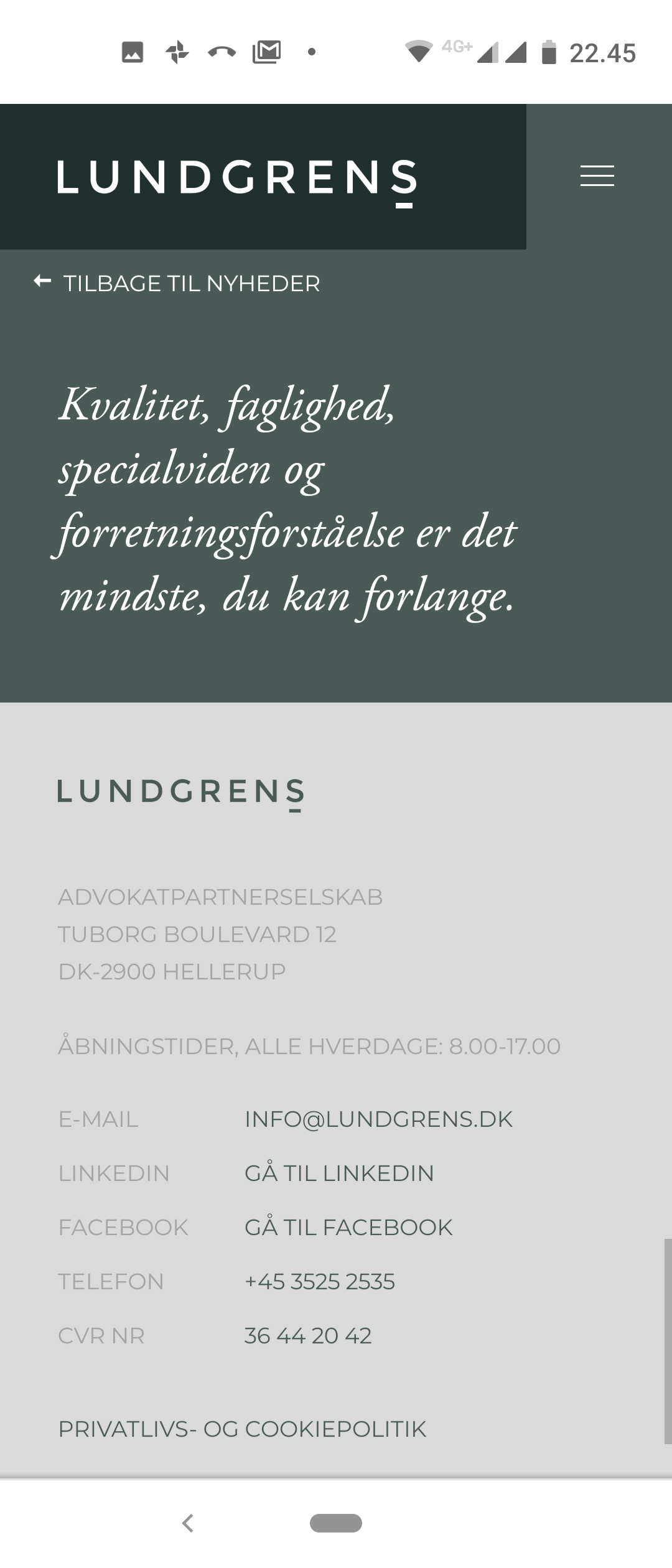 If you choose Lundgren's lawyers to work for you. Then be careful Lundgrens does also choose to work for the opposing part Jyske Bank A/S. And is habil, in our fraud and false case against Jyske Bank A/S 🏦. Then Lundgrens chose to accept a million jobs, offered by Jyske Bank's Board of Directors. Just a few months after Lundgrens took the assignment against Jyske Bank A/S for fraud and false. :-( We fired Lundgrens 1 year after, when we discovered that Lundgren's Partner Company real works for Jyske Bank's Board of Directors. And therefore directly in contravention of good lawyer custom, counteract us, and that our claims against Jyske Bank were not presented to the courts. Therefore we would like to warn you as a client in Lundgrens, as we believe they have received a return commission from Jyske Bank, to help Jyske Bank A/S A false or corrupt lawyer is a threat to the Danish legal community.