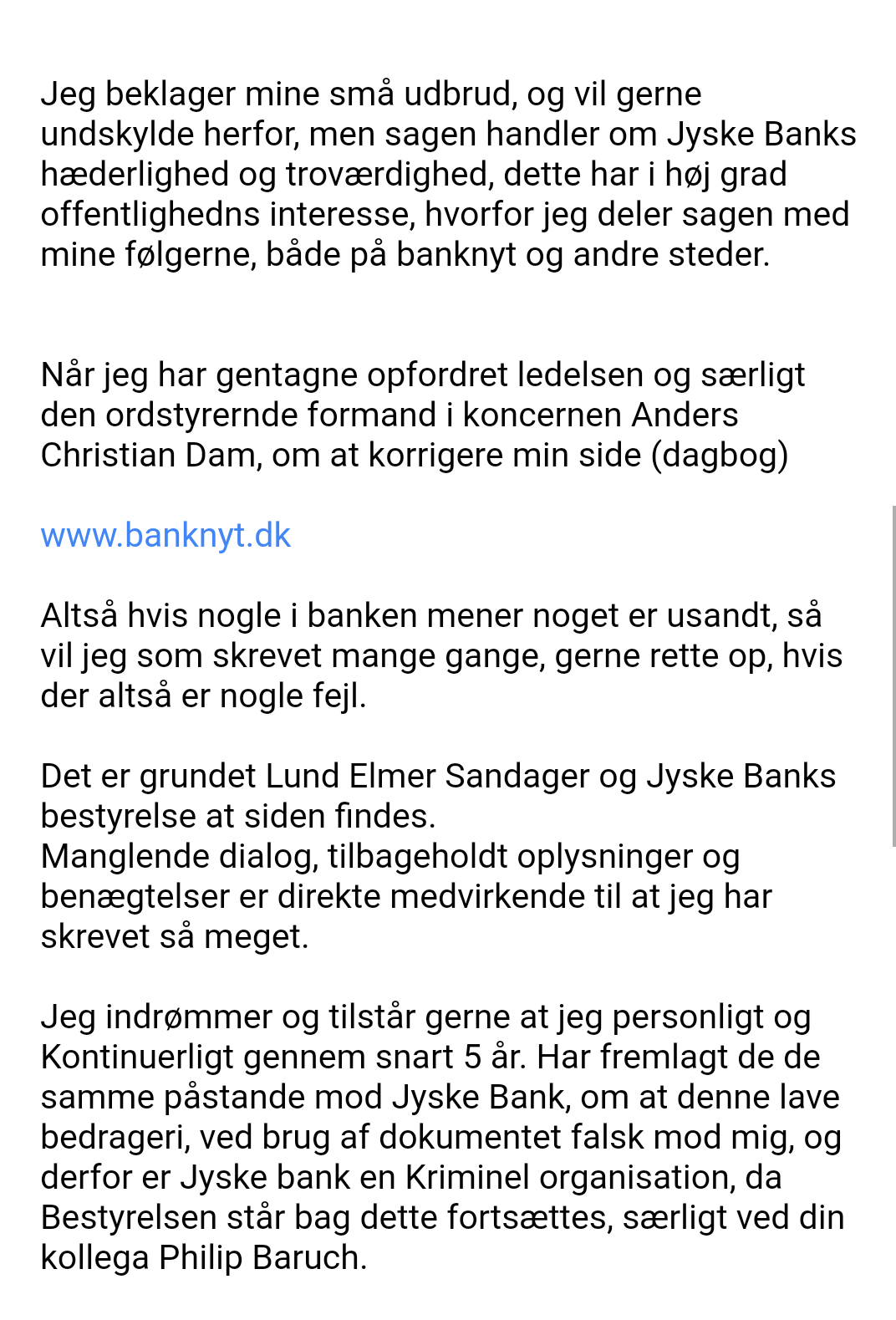 Bribery is not only a problem of Danish society. When a client hires Lundgrens Advokater, to file a case of fraud, executed against a Danish bank customer in Jyske Bank. And the client clearly and clearly tells Lundgren's attorneys that the fraud crime was committed by Jyske Bank, and this is done with the Group management's knowledge, and certainly contributes to the client in the case BS-402/2015-VIB When the customer saw over 1 year. after Lundgren's lawyer b occurred and shortly after the lawyers had been hired to file a fraud case against Jyske Bank. Discover that even the same Lundgren's lawyer company, has been employed by the Jyske Bank Group, in a trade for DKK 600 million. And the client also discovers that Lundgren's lawyers have countered that some of their client's claims were brought to court. When Lundgrens directly against the client's instructions, does not present any of the client's claims against Jyske Bank, which the client has many times given Lundgrens Advokater clear instructions